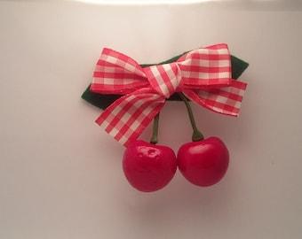 Cherry Hair Clip / Retro hair Clip\ Vintage Hair Clip