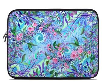 Laptop Sleeve Bag Case - Lavender Flowers by Juleez - Neoprene Padded - Fits MacBooks + More