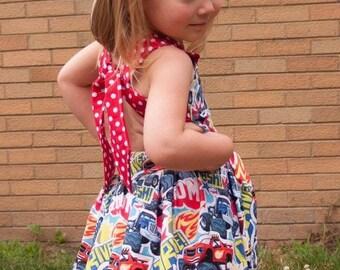 Handmade Peekaboo Dress Blaze amd the machines Inspired sizes newborn - girls 8