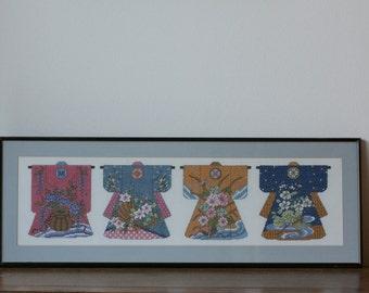Vintage Japanese Kimono Framed Art Embroidery - Wall Art