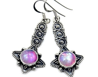 Pink Moonstone Earrings & .925 Sterling Silver Dangle Earrings ; AB896 gift jewelry