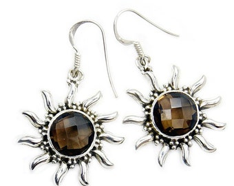 Sizzling Sun' Smoky Quartz & Sterling Silver Dangle Earrings Y380
