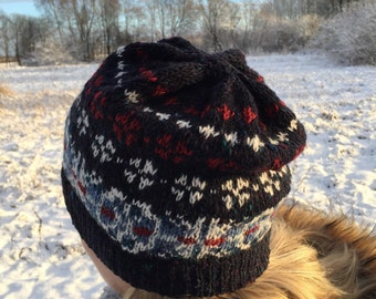 Fair Isle hat Dark Blue hat Navy blue Women's hat Hand knit hat Ready to ship