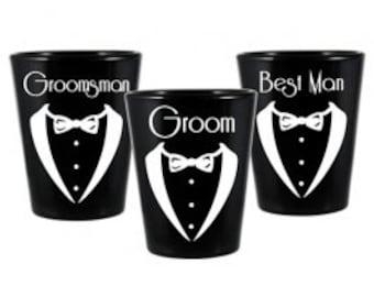 Groom Wedding Shot Glass Set
