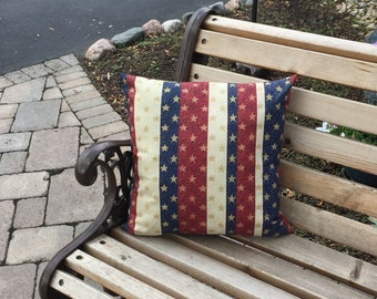 Patriotic pillow - USA pillow - star pillow - striped pillow - July 4th decor - red white and blue - stars and stripes