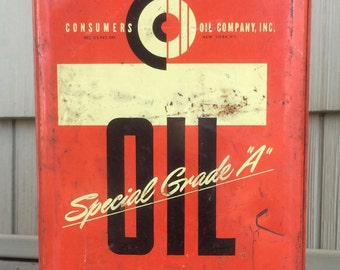 Vintage Consumers Oil Special Grade A 1 Gallon Oil Can
