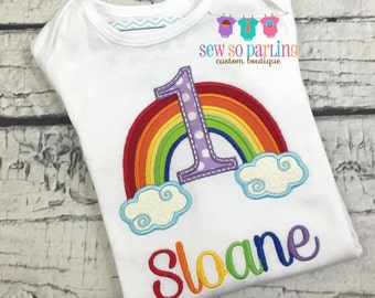 1st Birthday Girl Rainbow Outfit - Baby Girl Rainbow Birthday Outfit - Rainbow Birthday Shirt- 1st Birthday Outfit