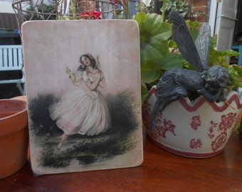 hanging wooden sign fairy angel wings jane austen regency lady french decor shabby chic 1844 image decorative wall plaque lily maud