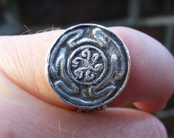 Hekate's Wheel Silver Ring Handmade by the Green Man