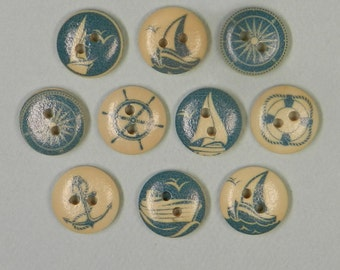 15mm NAUTICAL BUTTONS, sailing buttons, sewing buttons, wood buttons, 15mm buttons, hobby buttons, nautical embellishment, scrap booking