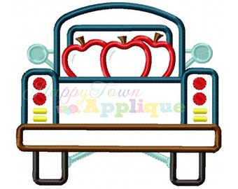 Truck Back With Apples Machine Embroidery Design
