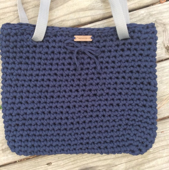 Items similar to Crochet T Shirt Yarn Tote Upcycled T ...