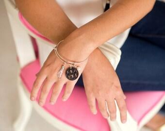 Monogrammed Ava Acrylic Bangle Bracelet