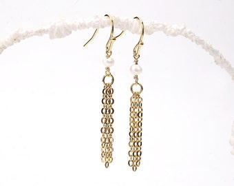 Gold Tassel Earrings. Gold Chain Tassel Earrings. Pearl Chain Tassel Earrings. Pearl Tassel Earrings. White Pearl Tassel Earrings