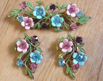 1950s demi parure floral clip on earrings and brooch rhinestone and enamel
