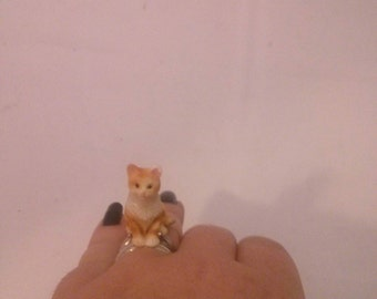 Handmade Small Cat Statue SterlingSilver Ring size 7