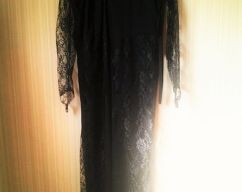 Vintage Collection of Widow dresses - Black Jersey and Lace Rubie's Morticia style costume
