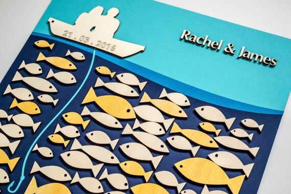 3d Custom Wedding Guest Book Alternative Gold Fish Ocean