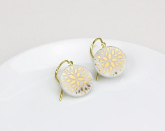 Petals - white porcelain earrings