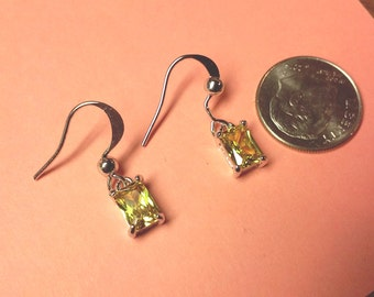 Natural citrine earrings  sterling silver