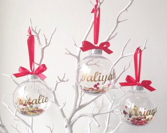 CHRISTMAS Bauble Decoration. Personalised  ornament. Bauble filled with sequins, stars and confetti. Gold, Silver, White and red