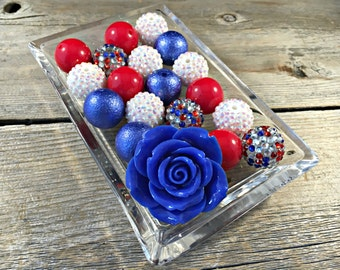 Red, White, and Blue DIY Chunky Necklace Kit, Chunky Bead, Bubblegum Bead, Acrylic Bead, 4th of July, Patriotic, Military, Fourth of July