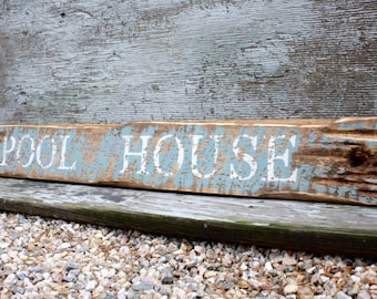 "36"" Pool House Beach Sign Beach Decor Rustic Distressed Wood Beach Teal"