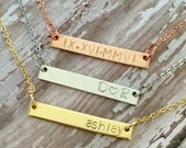 Pendant bar personalized name, date initals, word, anything , rose gold, gold and silver with petite chain and lobster clasp