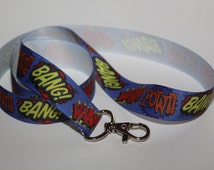 Novelty Lanyard, Ribbon Lanyard, Lanyard, ID Badge and Key Holder, Fashion Lanyard, Fun Lanyard, Comic Book Ribbon, Super Hero Ribbon