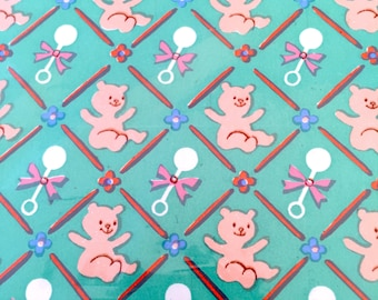 Green Pink Bear Rattle Baby Shower Gift Wrap, Vintage Wrapping Paper Unisex Baby Gift Birthday Present Paper