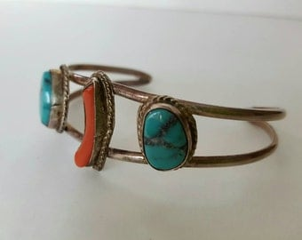 Vintage Sterling Silver Child Native American Turquoise and Coral Bracelet
