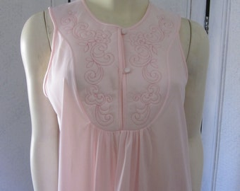 """1960s Pale Pink Nylon Full-Length Nightgown by """"Deena,"""" Size Medium"""