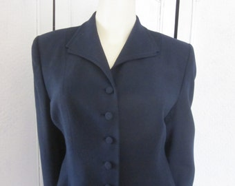 1940s Navy Blue Wool Crepe Long-Sleeved Jacket, Size 10