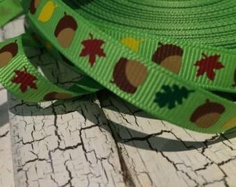 "3 yards 3/8"" Fall Acorn on green grosgrain ribbon"
