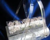 SALE VINTAGE White Pearlized Lucite with Clear Lucite Lid Has Encased Flowers PERFECT For Weddings Cab