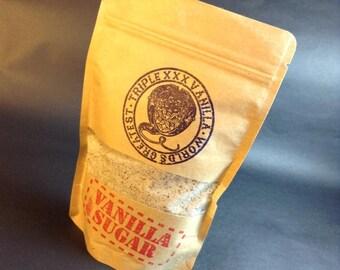 Triple XXX Vanilla Sugar - A Baker's Secret Weapon - Organic Sugar, real powdered Vanilla Beans 12 ounce resealable bag