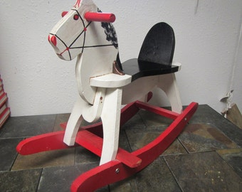 Wood Childs ROCKING HORSE  ** Handcrafted,  hand painted ** mid century ride on toy