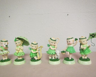 vintage set of 6 The Little MESSENGERS of IRISH BLESSINGS ; Numbered Sculptures