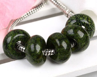 Green Lace Gemstone Stone Large Hole Bead Charm No Core Fits European Bracelet Chain