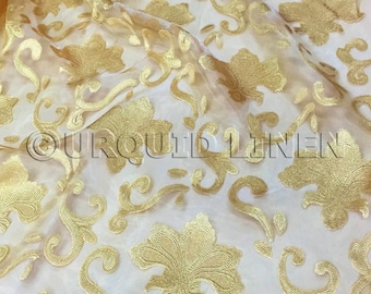 Fleur De Lis in Gold - Gorgeous Fabric with an Embroidered Design Throughout - Great For Weddings, Bridal Parties, and Special Events