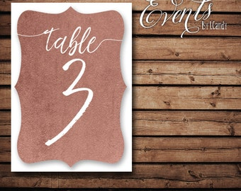 Table Numbers - Rose Gold 107
