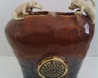 Stoneware Humorus Doggy Vase