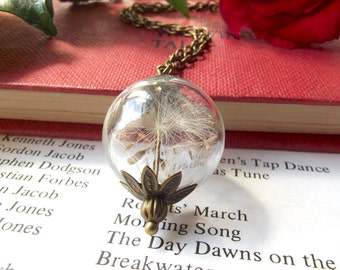Dandelion wish necklace - natural botanical jewellery - dandelion seeds - dandelion necklace - handmade in the UK by The Autumn Orchard