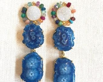 Druzy and Stalactite Dangle Earrings