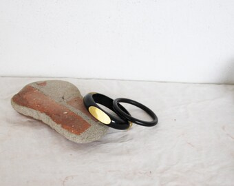 Vintage wooden bangles, two black wooden bangles, one thin, plain bangle, one wide with gold trim, boho black bracelets, set of two