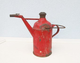 Antique Rare Fuel Metal Red CAN Petroleum Gasoline Container Handled Rustic Metal Distressed Decor Man Cave gift