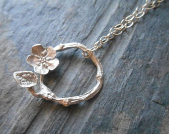 Twig, flower and leaf sterling silver necklace, hand cast twig necklace, dainty infinity necklace