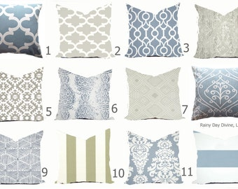 Pillows Cover Custom  - Dusty Ice Blue Spa White Ash Smoke Milky Gray Grey Modern Geometric Tribal Quatrefoil 18x18, 16x16