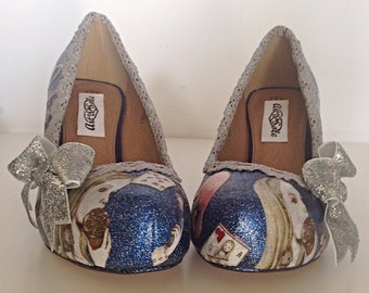Alice wedding shoes personalised shoes,  alice in wonderland shoes, wedding shoes, glitter shoes brides shoes something blue low heel shoes,