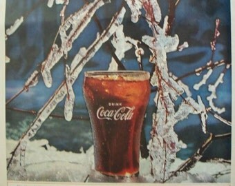 Coca Cola Coke Ad ~ Things Go Better ~ Winter Ice ~ Original Magazine Advertising 1960s